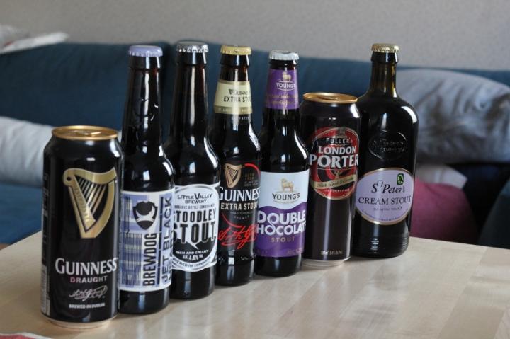 De sju varianterna stoutporter i ordninarie sortimentet april 2018,i alkoholstyrkeordning, Karlströms Malt