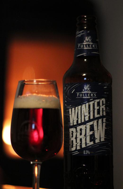 Fuller's Winter Brew, glasflaska, ölglas, eld, Karlströms Malt