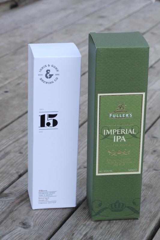Innis Gunn 15, Fuller's Imperial IPA, Pappkartonger, Karlströms Malt