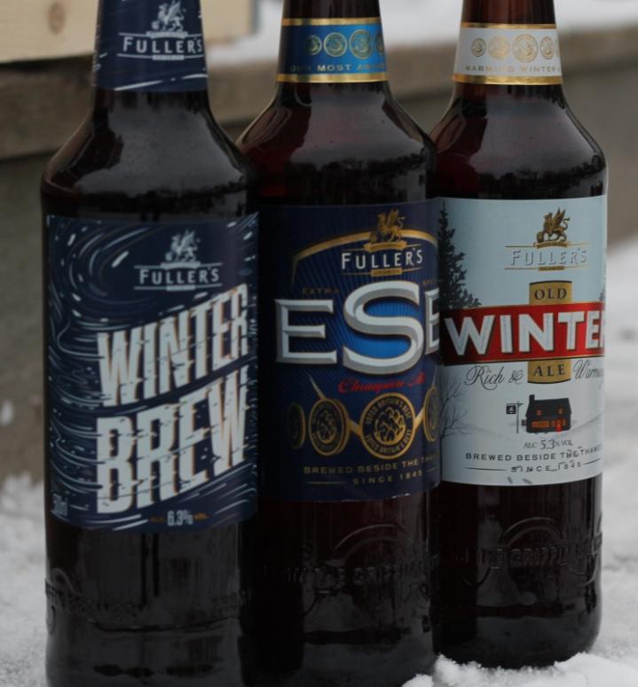 Fuller's Old Winter Ale, Winter Brew, ESB, flaskor, utomhus, Karlströms Malt