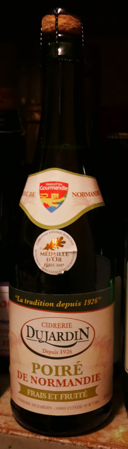 Dujardin Poire de Normandie, päroncider, Karlströms Malt, hela flaskan