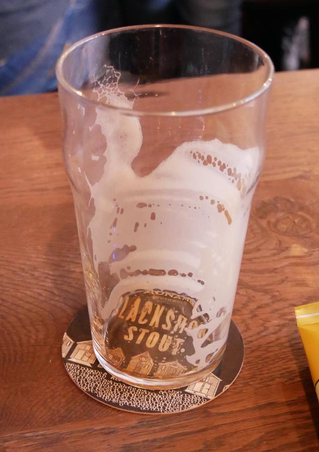 Adnams Blackshore Stout, tomt glas, Karlströms Malt